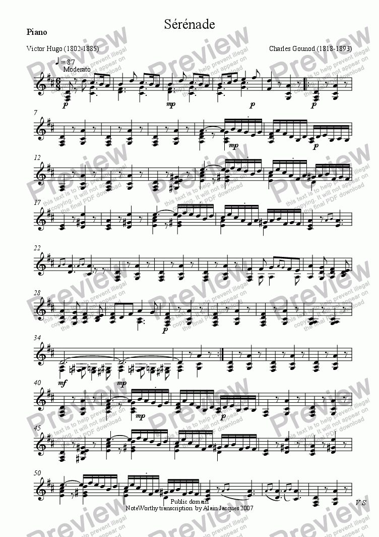 page one of the Piano part from Sérénade (Charles Gounod / Victor Hugo)