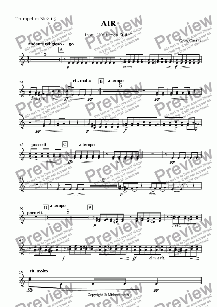 page one of the Trumpet in Bb 2 + 3 part from Air from Holberg Suite