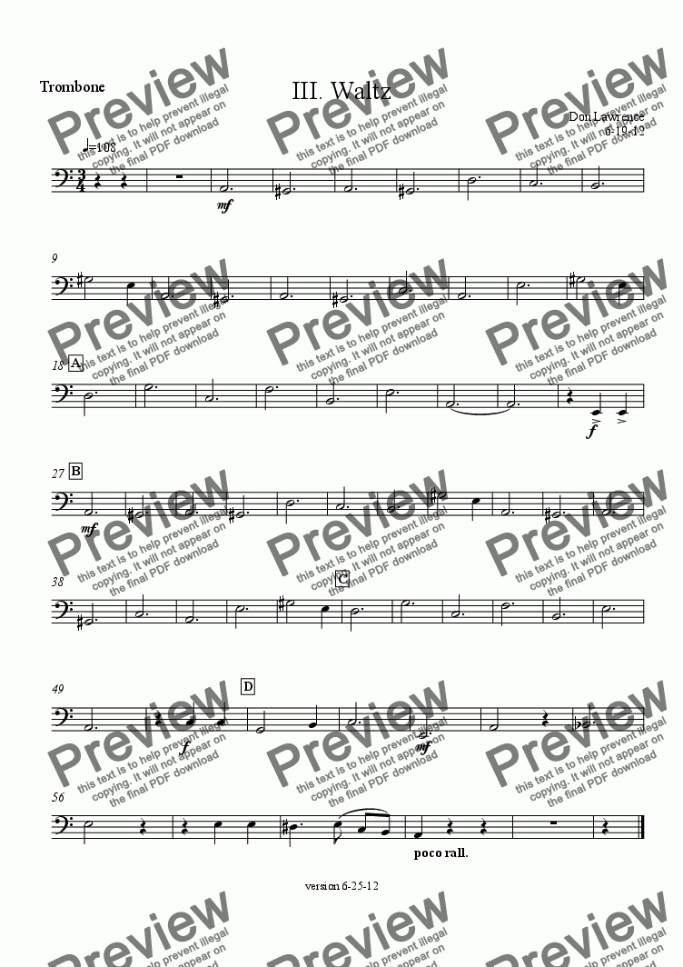 page one of the Trombone part from Power Suite (oboe, viola, horns, trombone):  III. Waltz