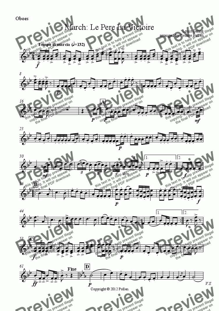 page one of the Oboes part from March: Le Pere la Victoire (CB)