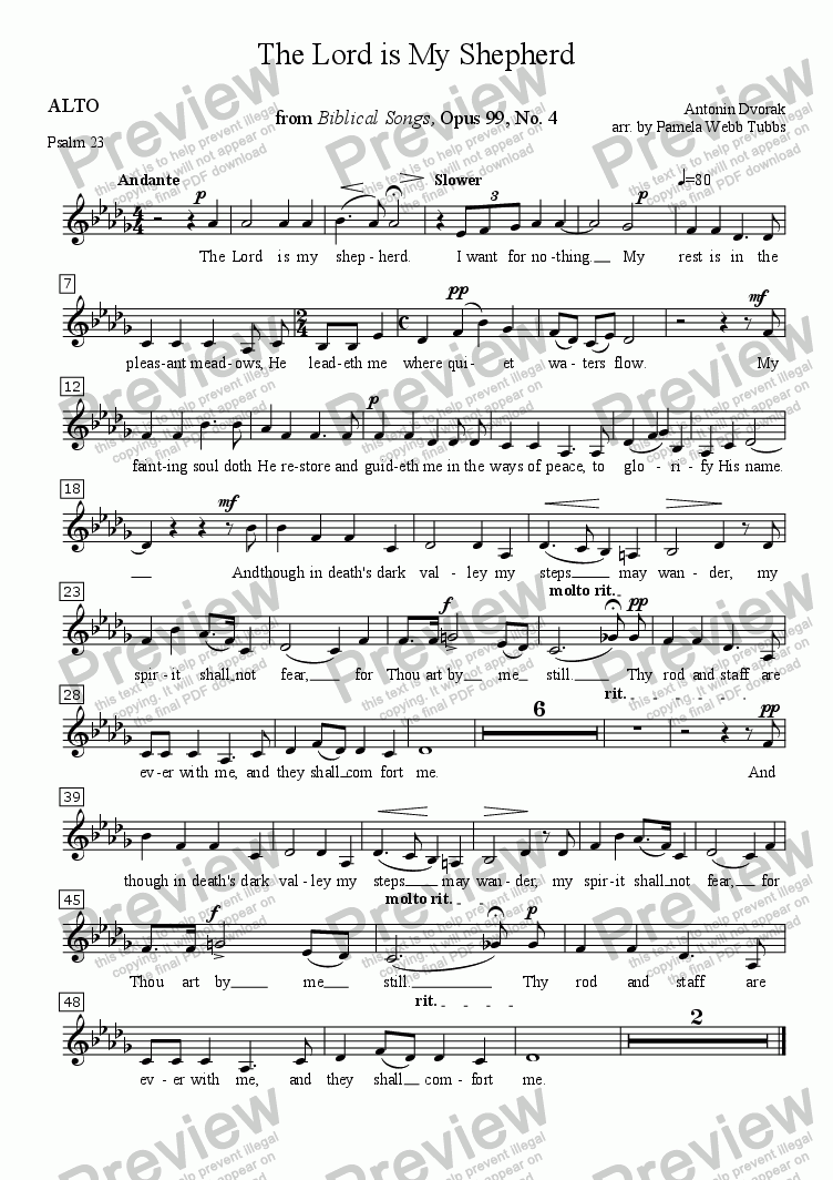 page one of the ALTO part from The Lord is My Shepherd (DVORAK) (Psalm 23) 2-part treble voices vocal duet (e.g., Soprano-Alto) with organ accompaniment, arr. by Pamela Webb Tubbs