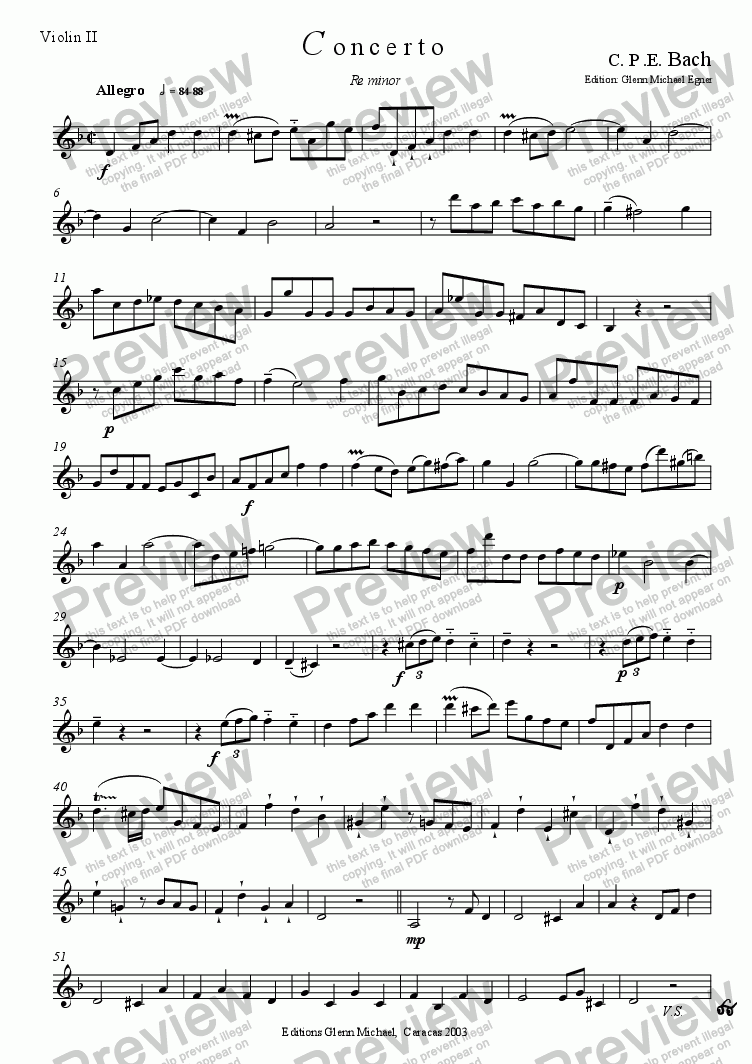 page one of the violin 2 part from Bach, CPE, concerto in D for flute & strings