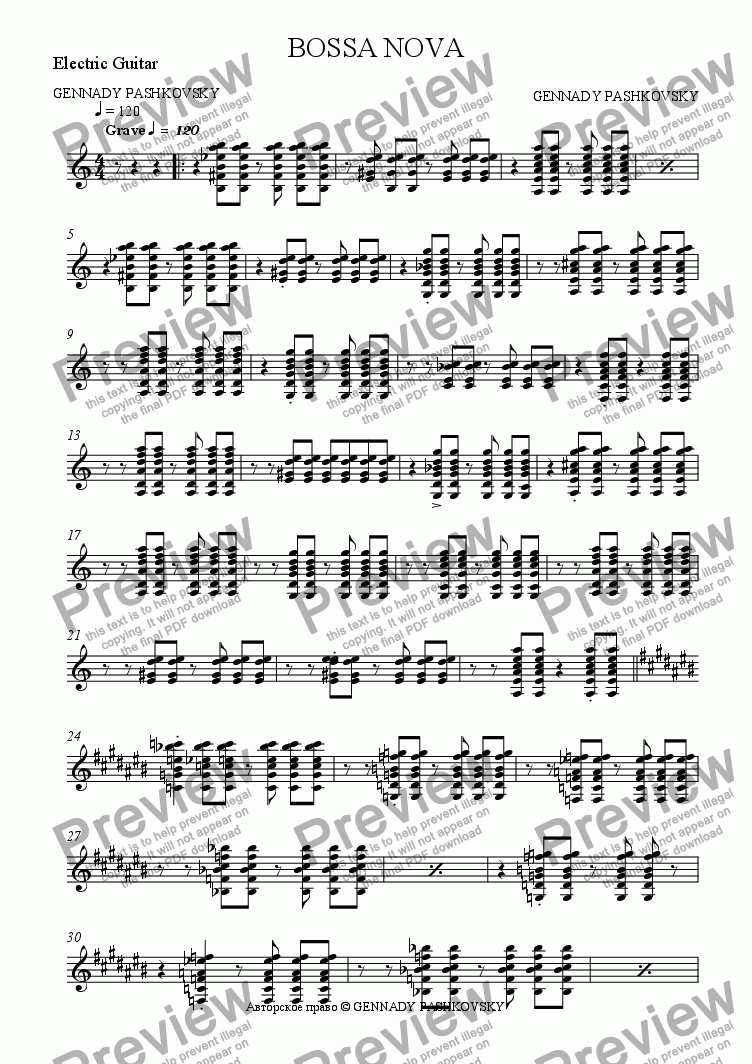 page one of the Electric Guitar part from BOSSA NOVA