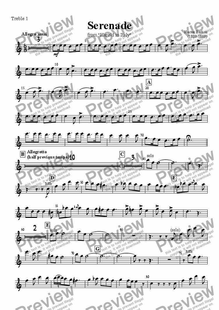 page one of the Treble 1 part from Serenade from Harold in Italy, arranged for recorder orchestra