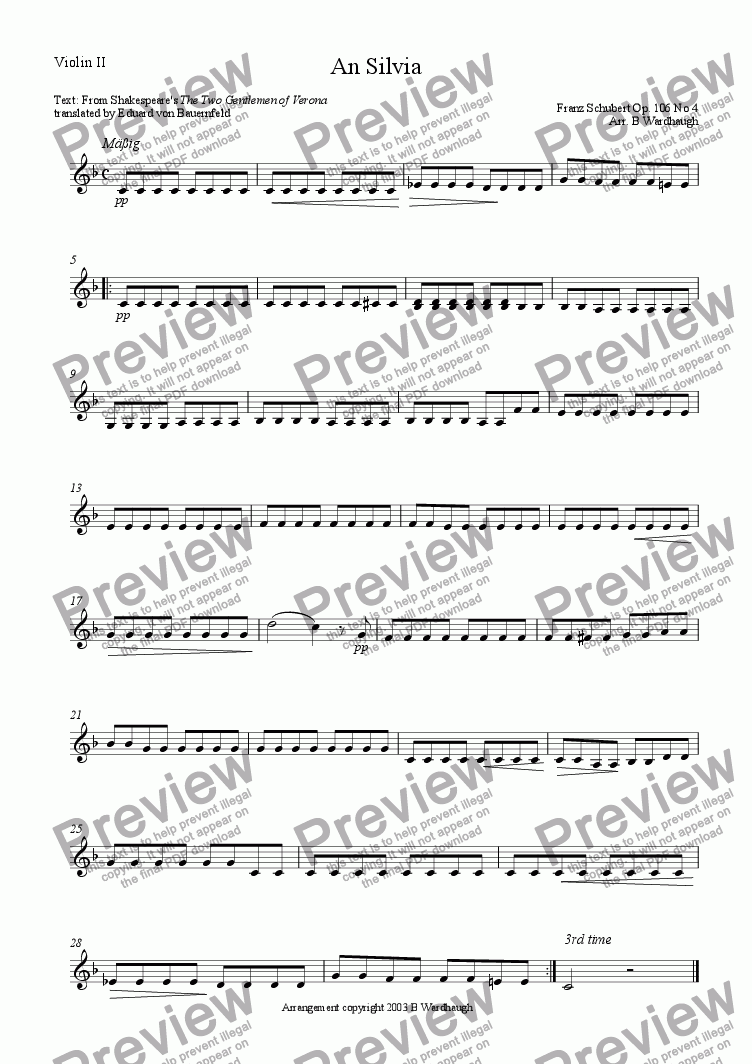 page one of the Violin II part from An Sylvia