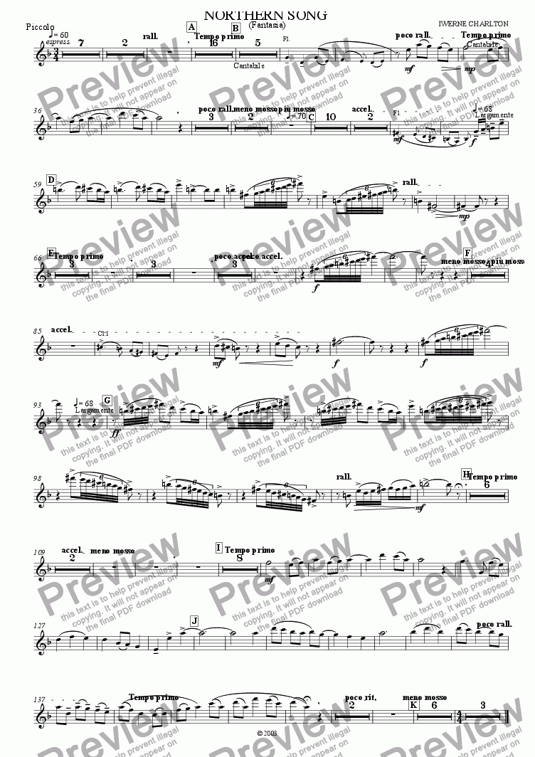 page one of the Piccolo part from Northern Song