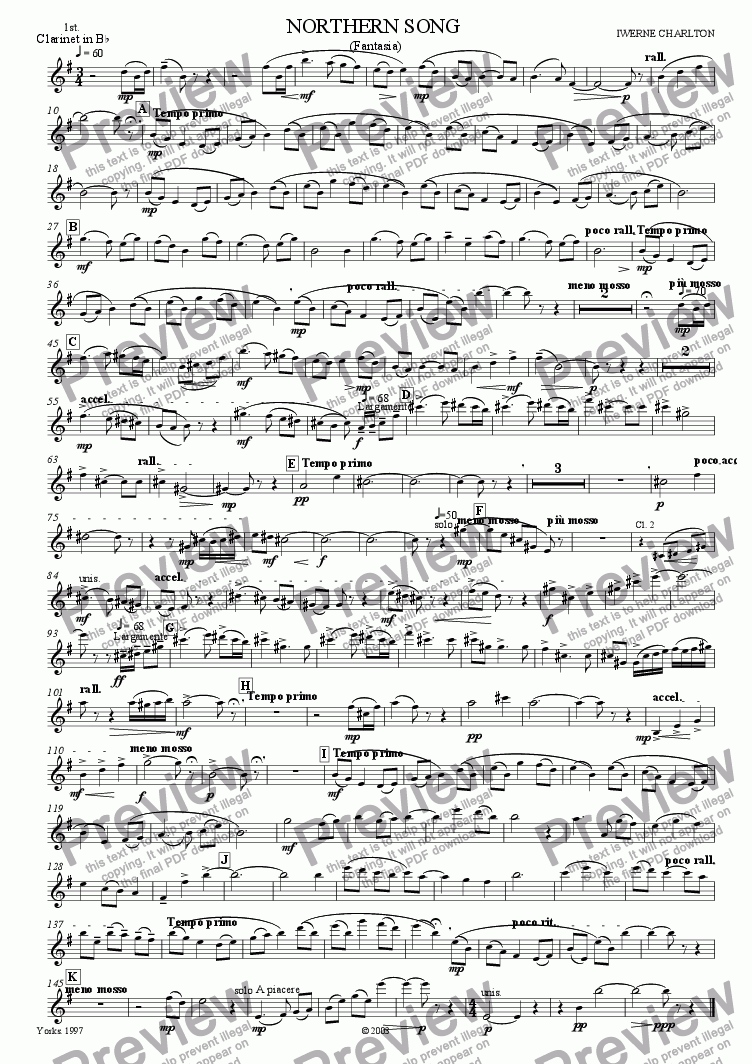 page one of the 1st Clarinet part from Northern Song