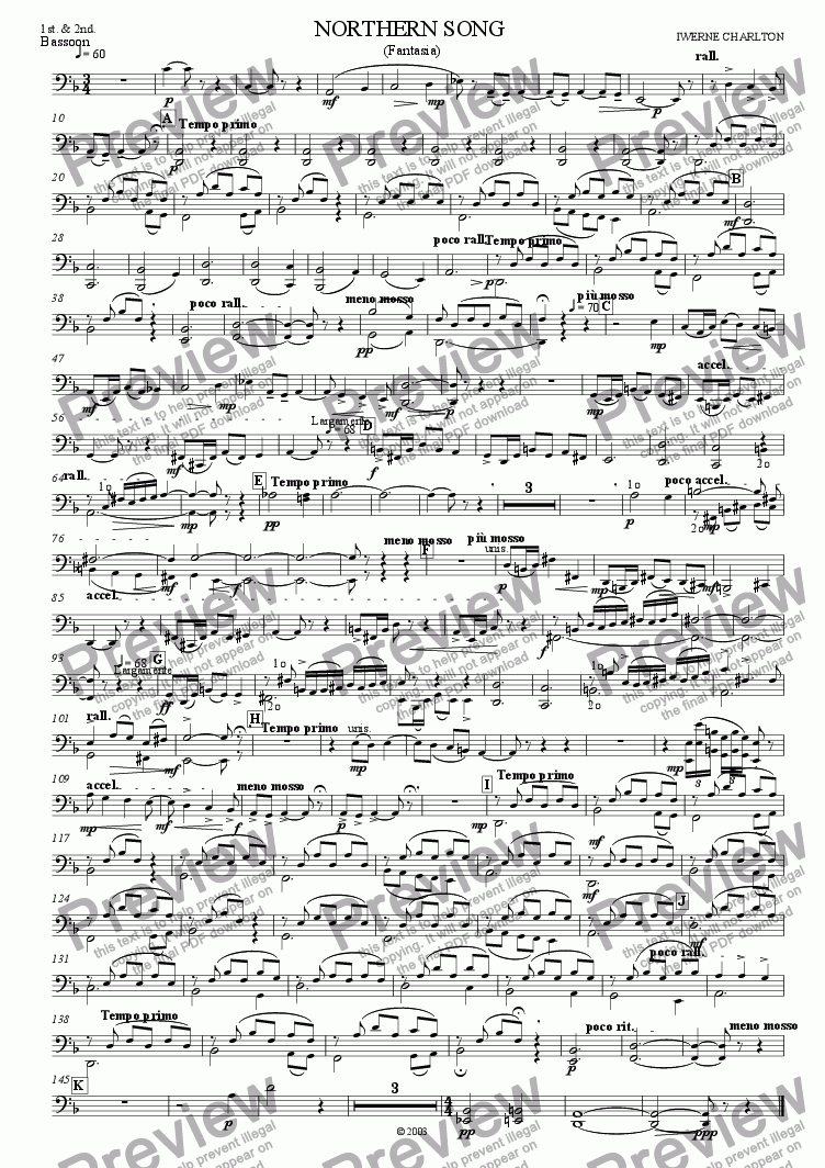 page one of the Bassoon 1 & 2 part from Northern Song