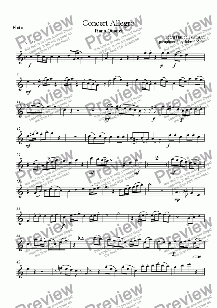 page one of the Flute part from Concert Allegro - piano quartet