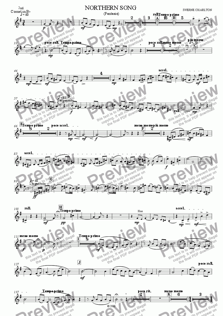 page one of the Cornet  2 part from Northern Song