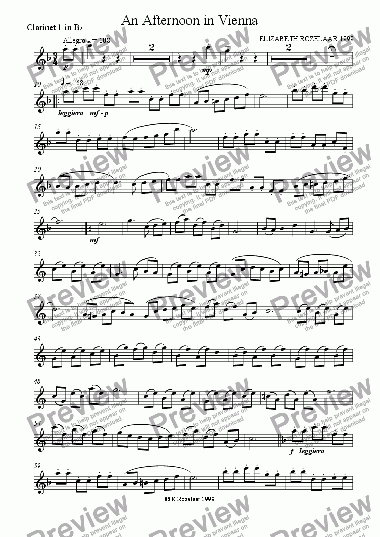 page one of the Clarinet 1 part from An Afternoon in Vienna for Clarinet Quartet