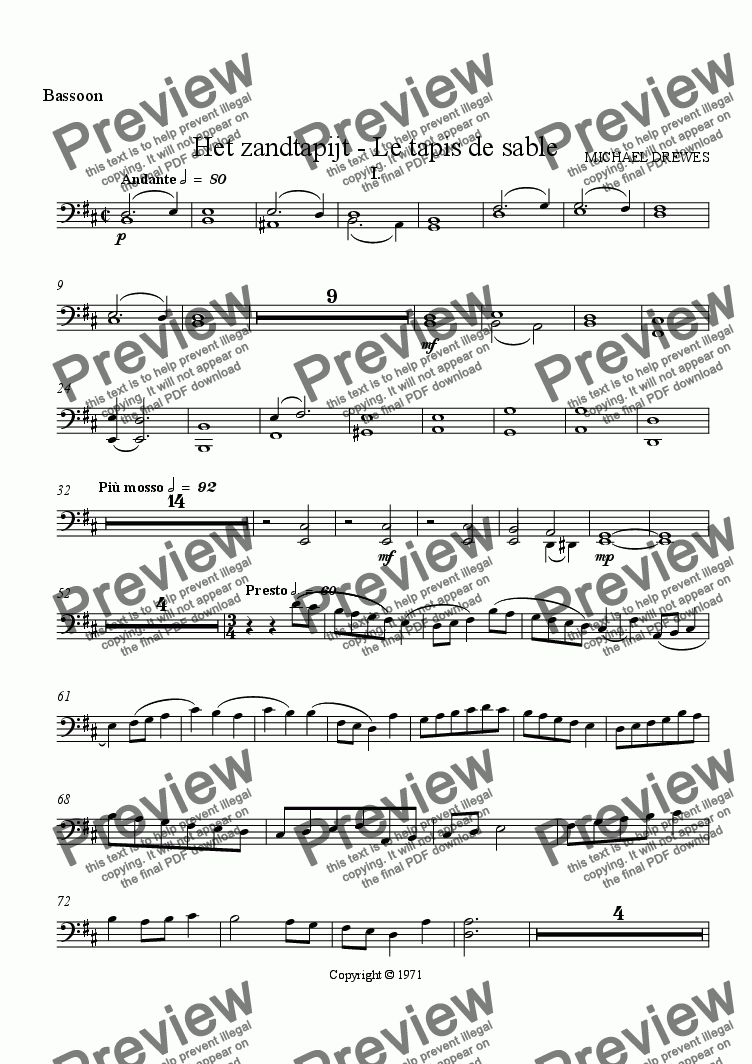 page one of the Bassoon part from Het zandtapijt - Le tapis de sable (The Sand Tapestry)