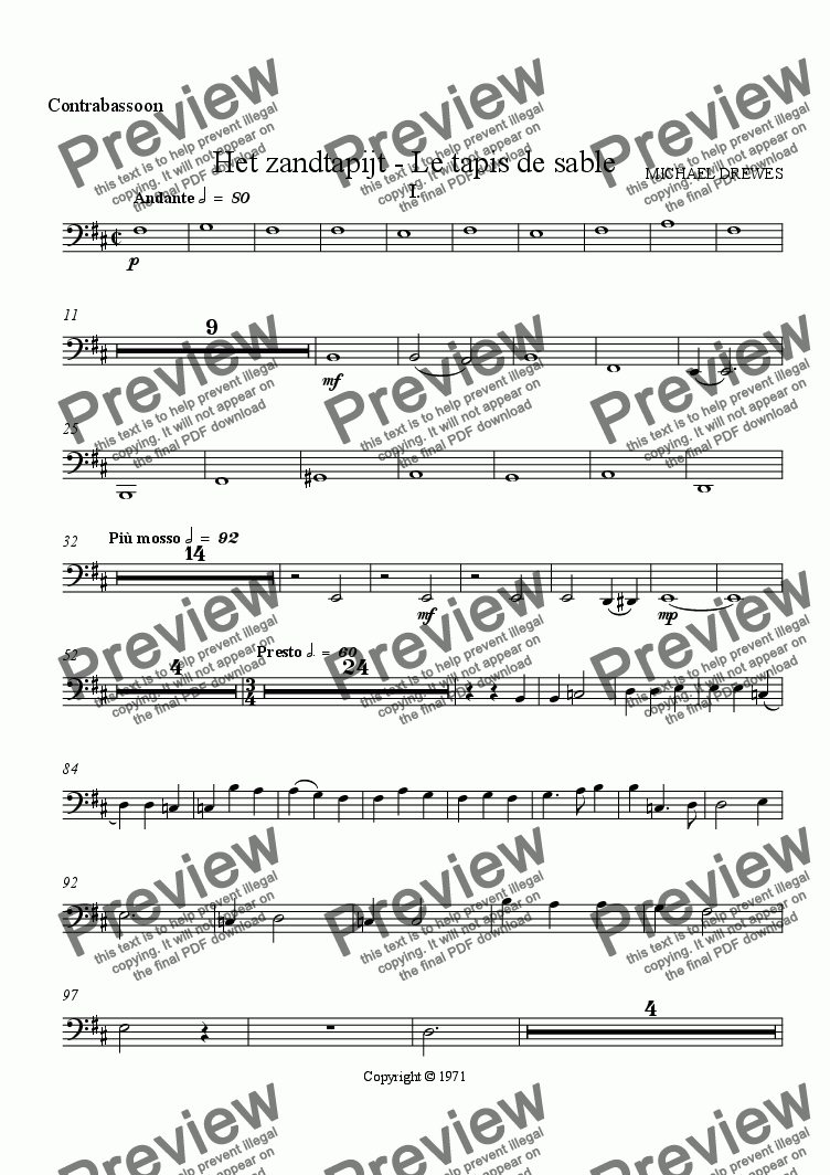 page one of the Contrabassoon part from Het zandtapijt - Le tapis de sable (The Sand Tapestry)