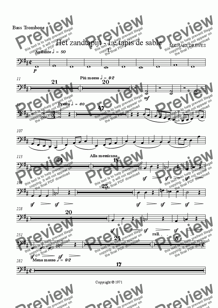 page one of the Bass Trombone part from Het zandtapijt - Le tapis de sable (The Sand Tapestry)
