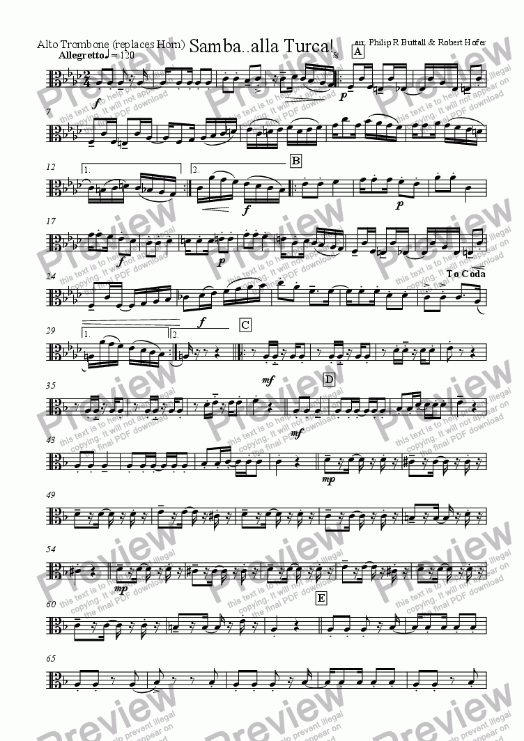 page one of the Alto Trombone (replaces French Horn) part from Samba..alla Turca! (Brass Quintet / Ensemble)