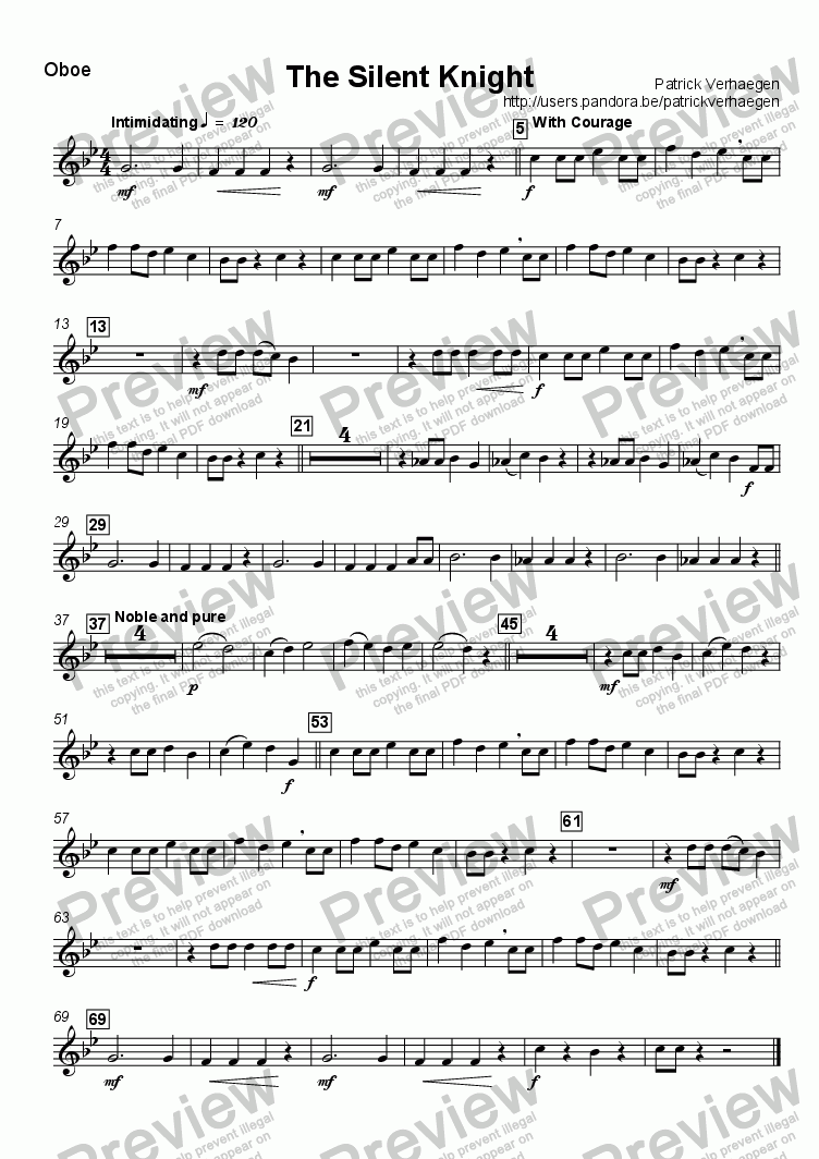 page one of the Oboe (optional) part from The Silent Knight