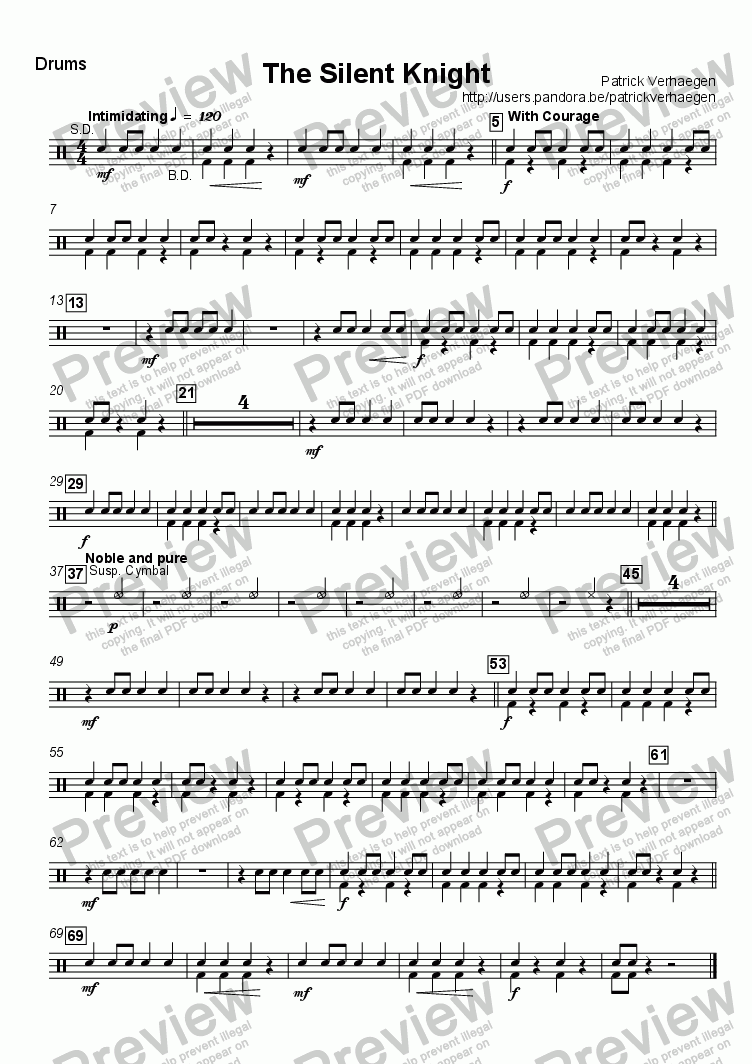 page one of the Drums part from The Silent Knight