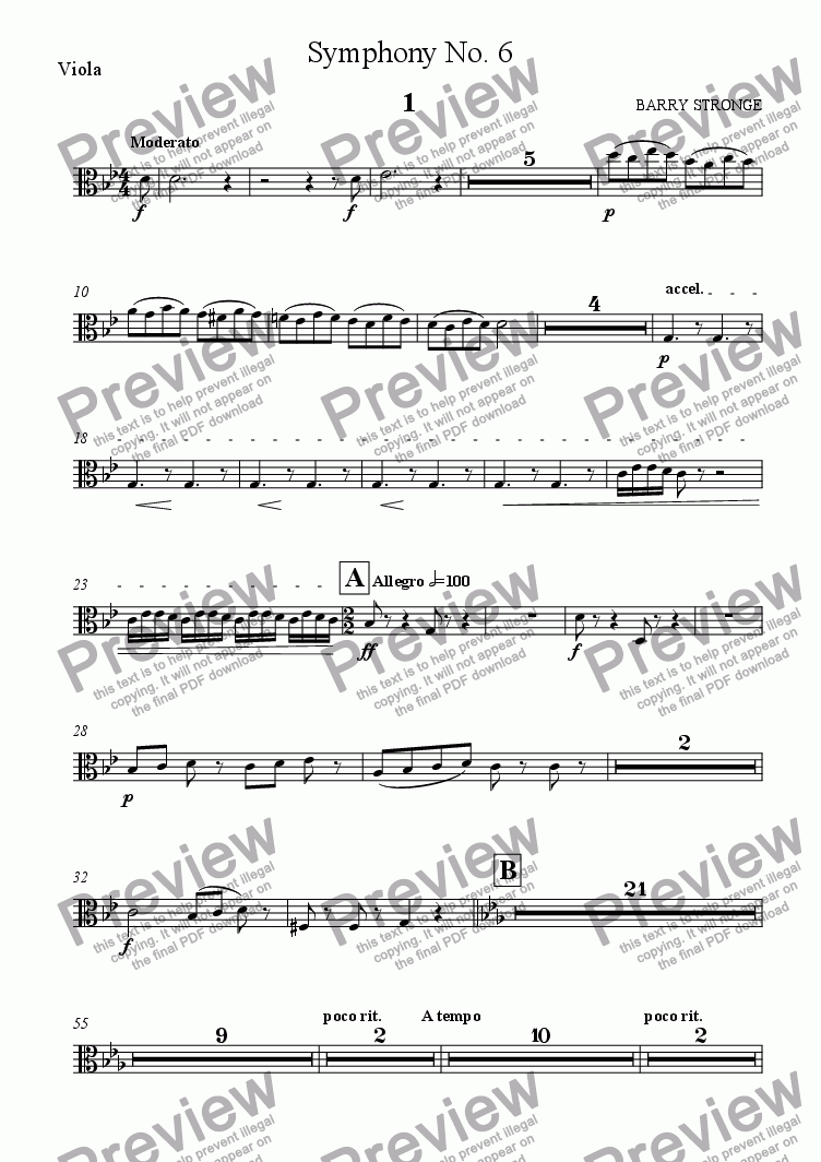 page one of the Viola part from Symphony No. 6 Movt. 1