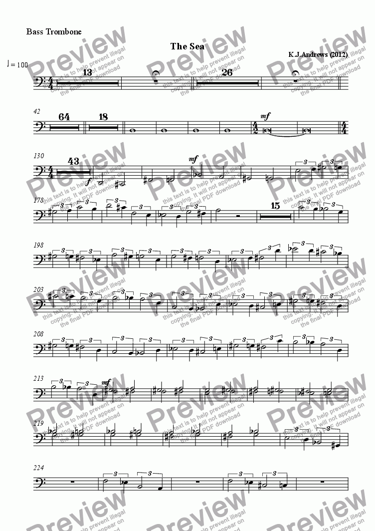 page one of the Bass Trombone part from The Sea
