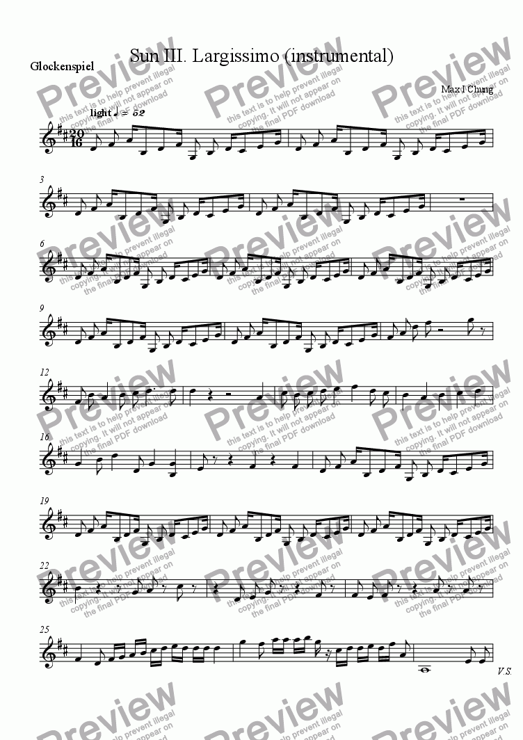 page one of the Glockenspiel part from Sun III. Largissimo (instrumental)