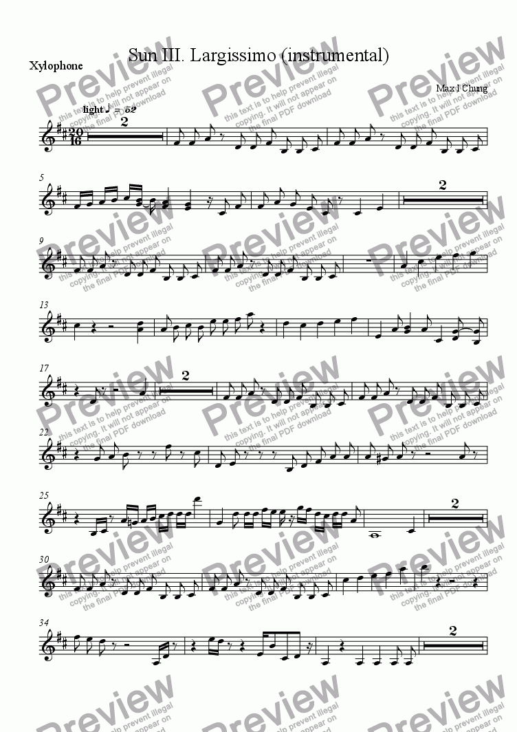 page one of the Xylophone part from Sun III. Largissimo (instrumental)