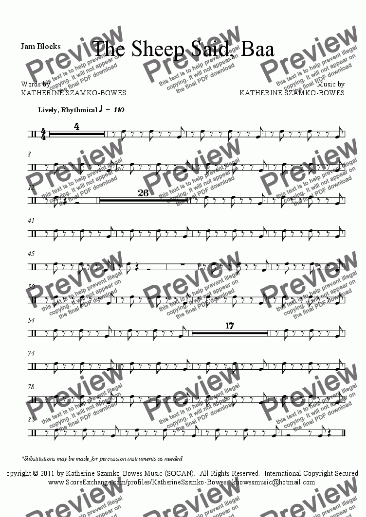 page one of the Jam Blocks part from The Sheep Said, Baa (PERCUSSION SCORE)