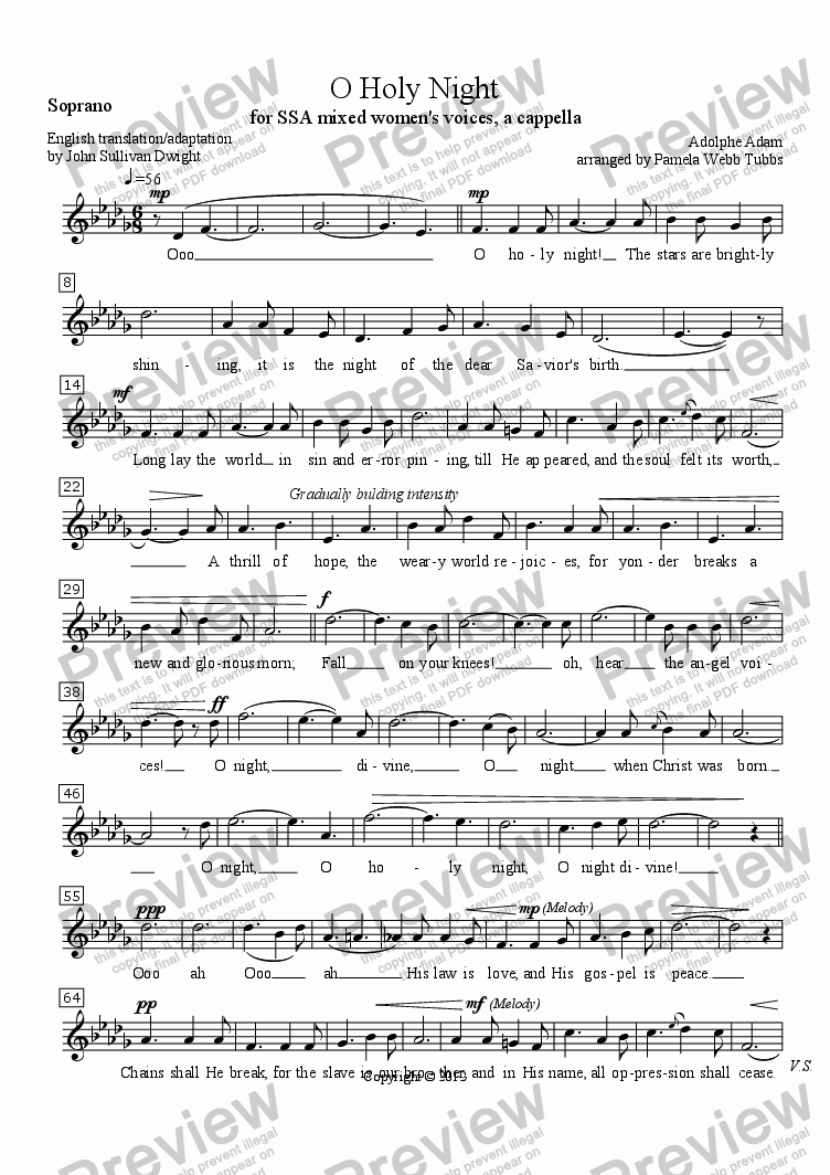 page one of the Soprano part from O Holy Night (ADAM), Christmas anthem for SSA trio (3-part) mixed women's voices, a cappella, arr. by Pamela Webb Tubbs