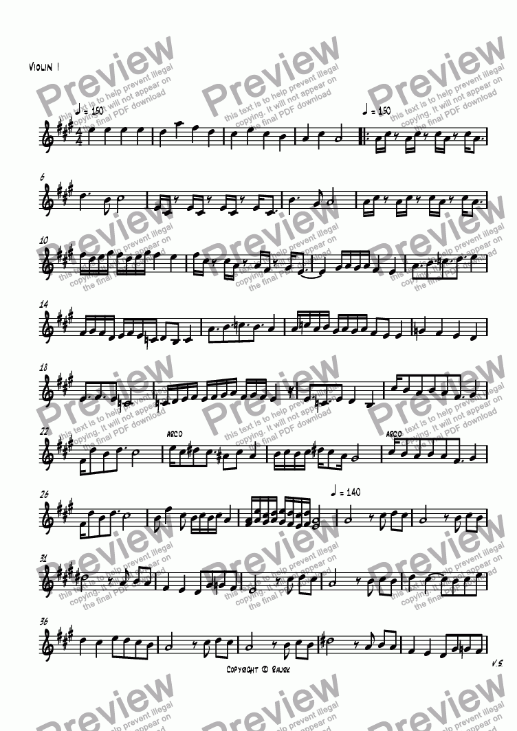 page one of the Violin I part from Piano Trio in A Major 1st Movement Jazz