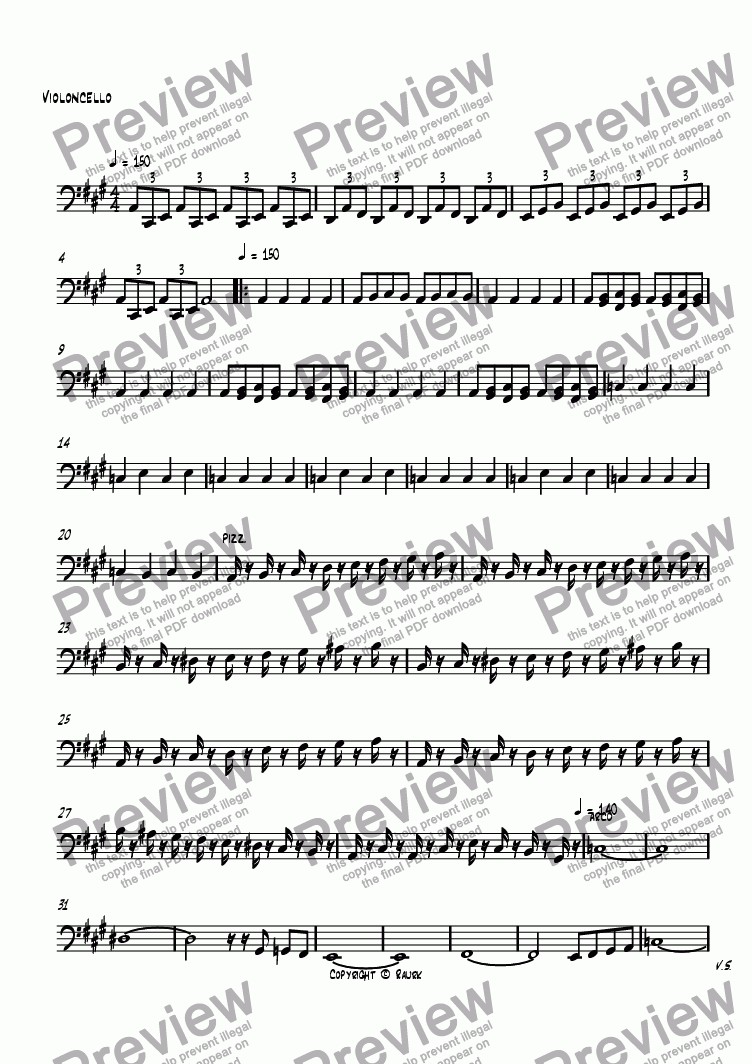 page one of the Violoncello part from Piano Trio in A Major 1st Movement Jazz