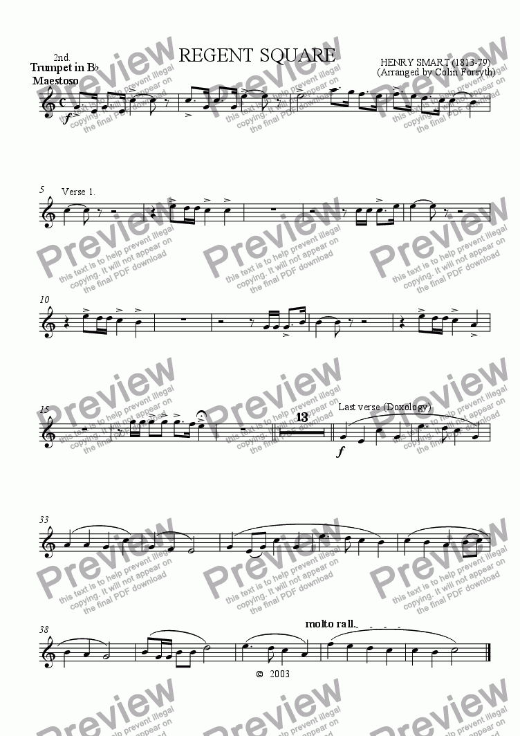 page one of the 2nd Trumpet B flat part from Regent Square