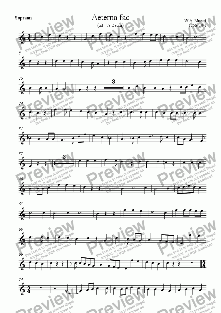 page one of the Sopraan part from Aeterna fac (Mozart)
