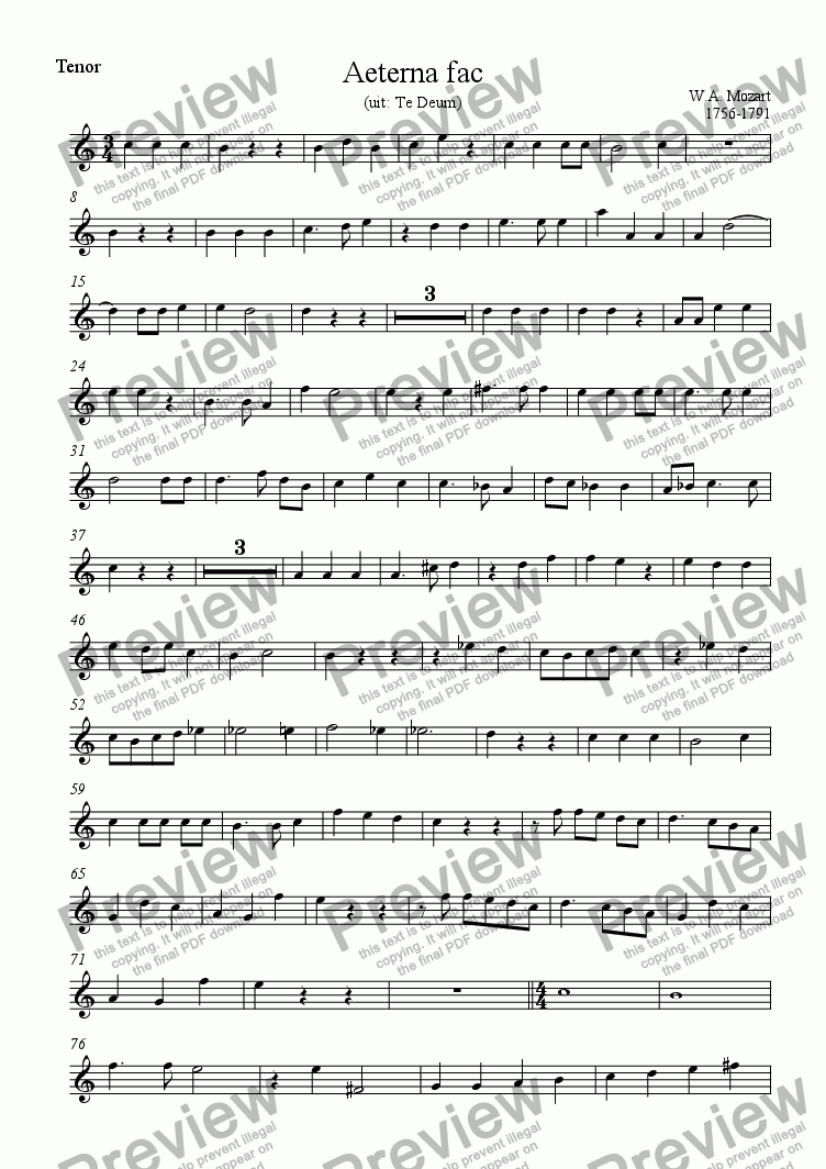 page one of the Tenor part from Aeterna fac (Mozart)