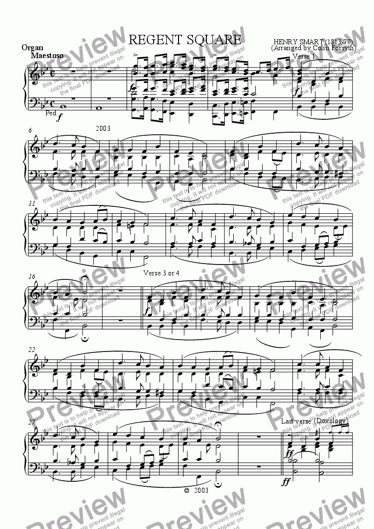 page one of the Organ part from Regent Square