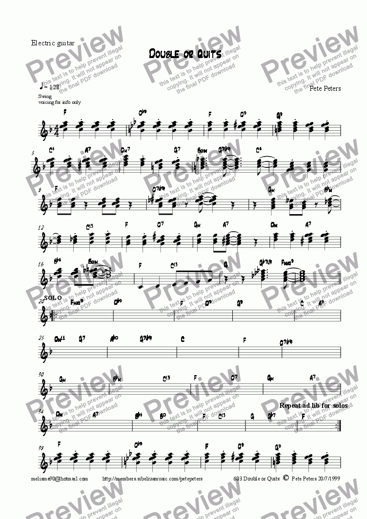 page one of the Guitar part from Double or Quits [Jazz 5pce]