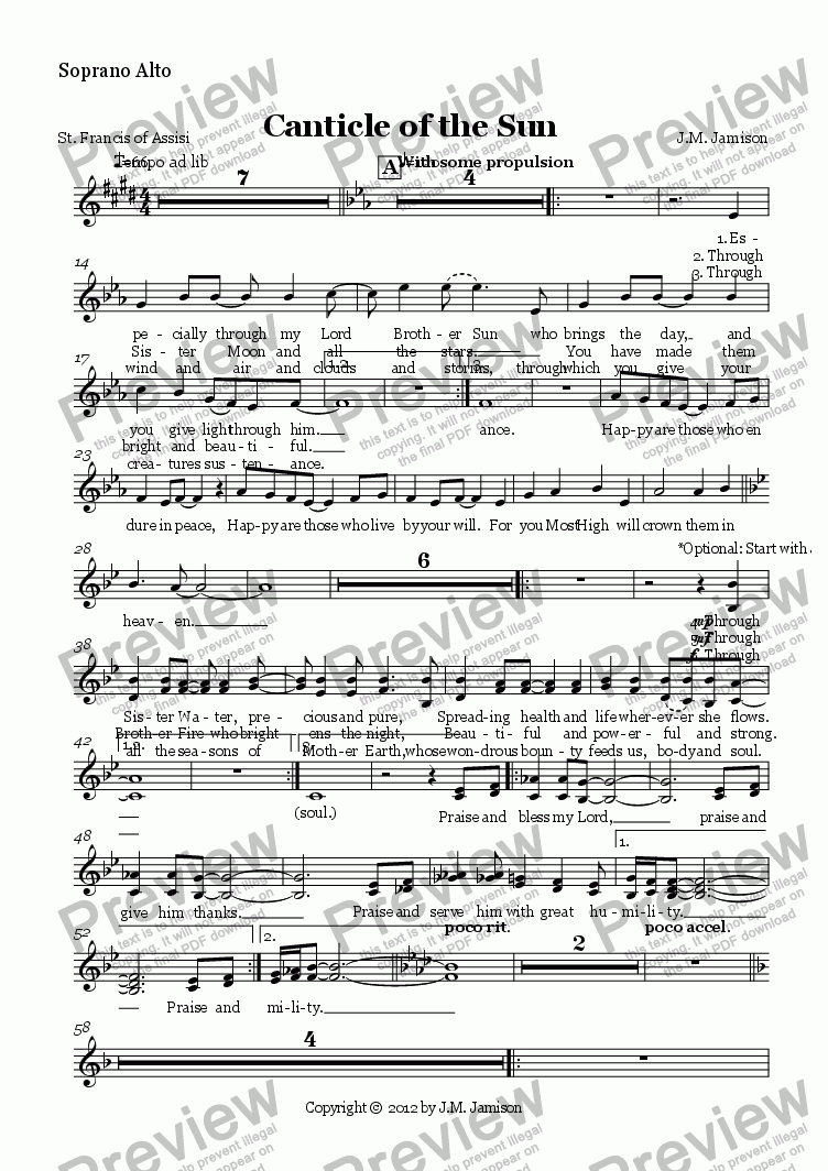 page one of the Soprano Alto part from Canticle of the Sun (choir+keys version)
