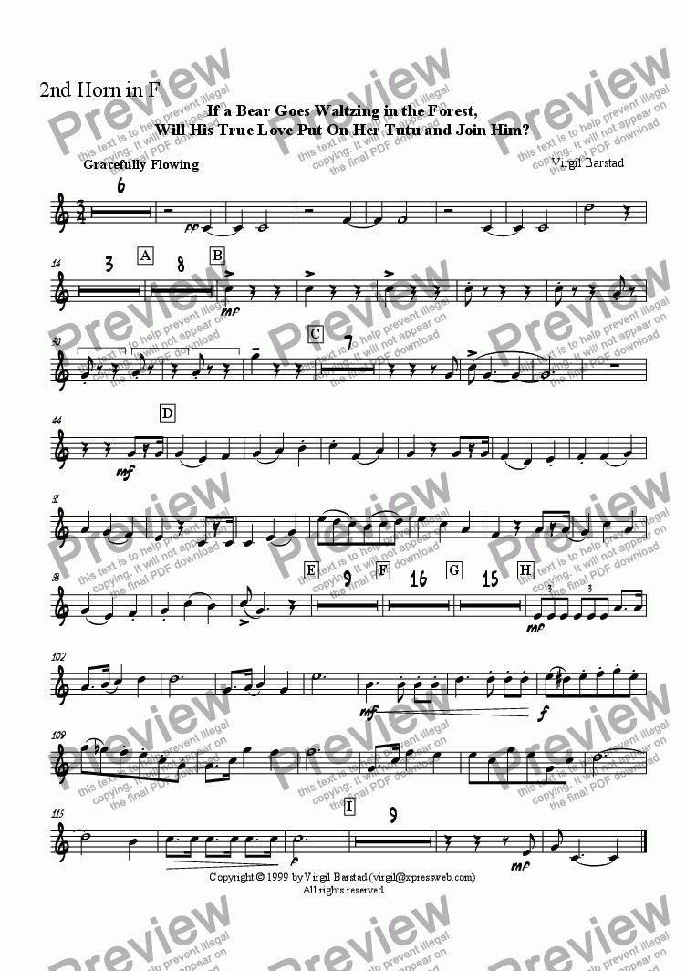 page one of the 2nd Horn in F part from If a Bear Goes Waltzing in the Forest, Will His True Love Put On Her Tutu and Join Him?