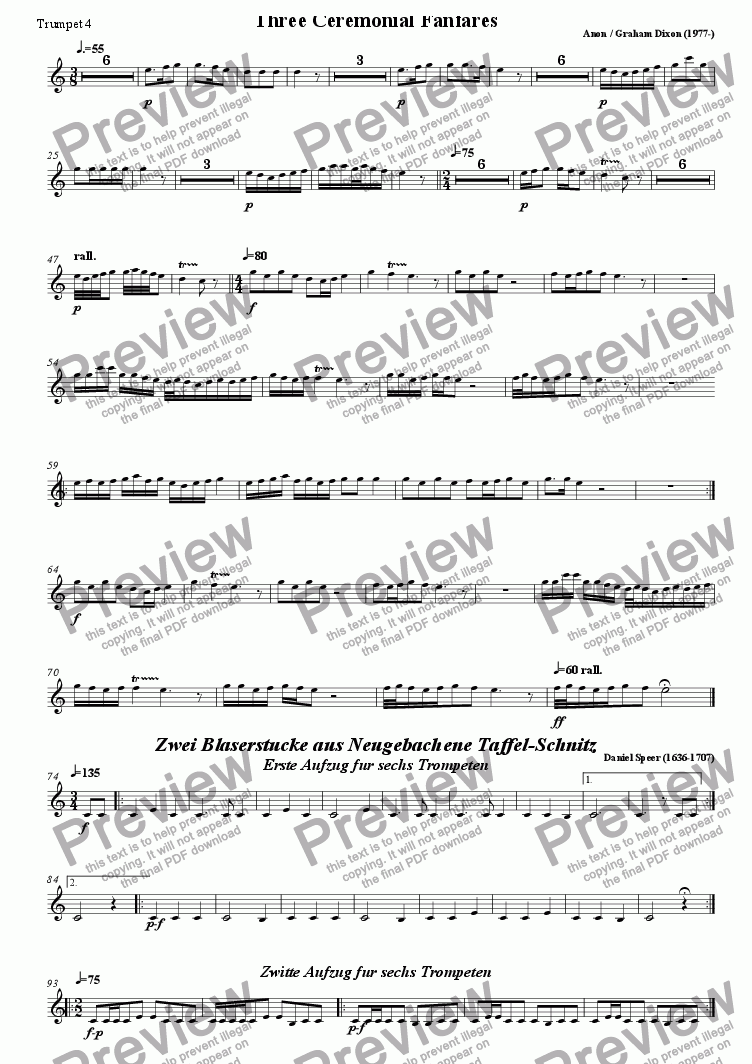 page one of the Trumpet 4 part from Five Ceremonial Fanfares