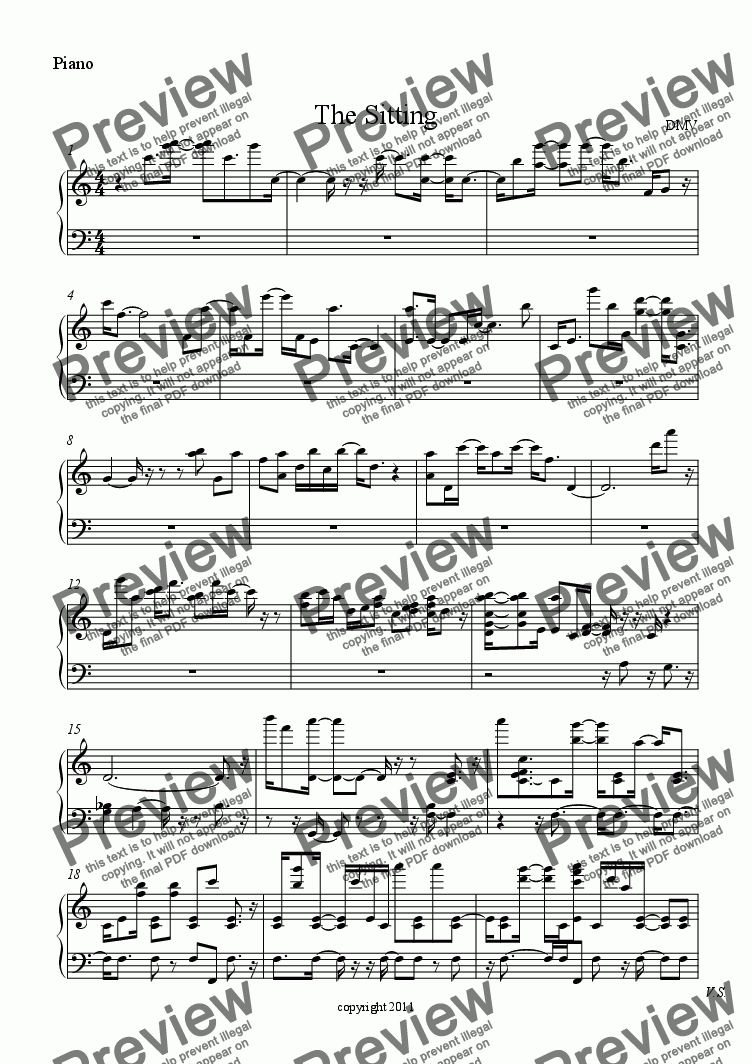 page one of the Piano part from The Sitting