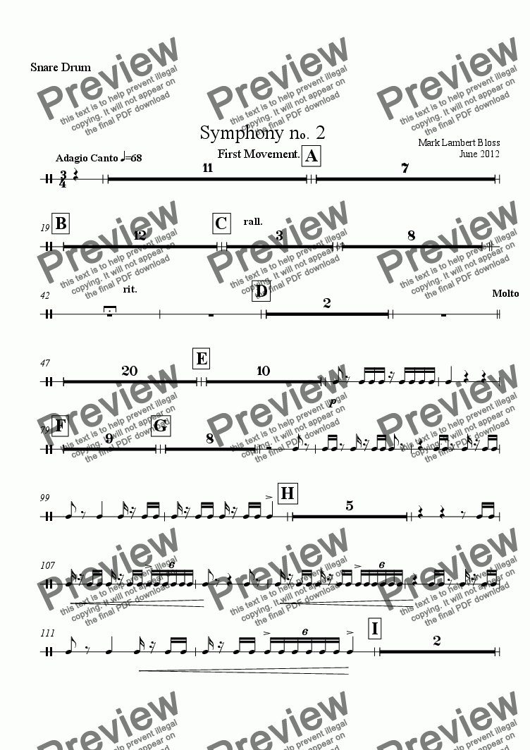 page one of the Snare Drum part from 2. Symphony First Movement