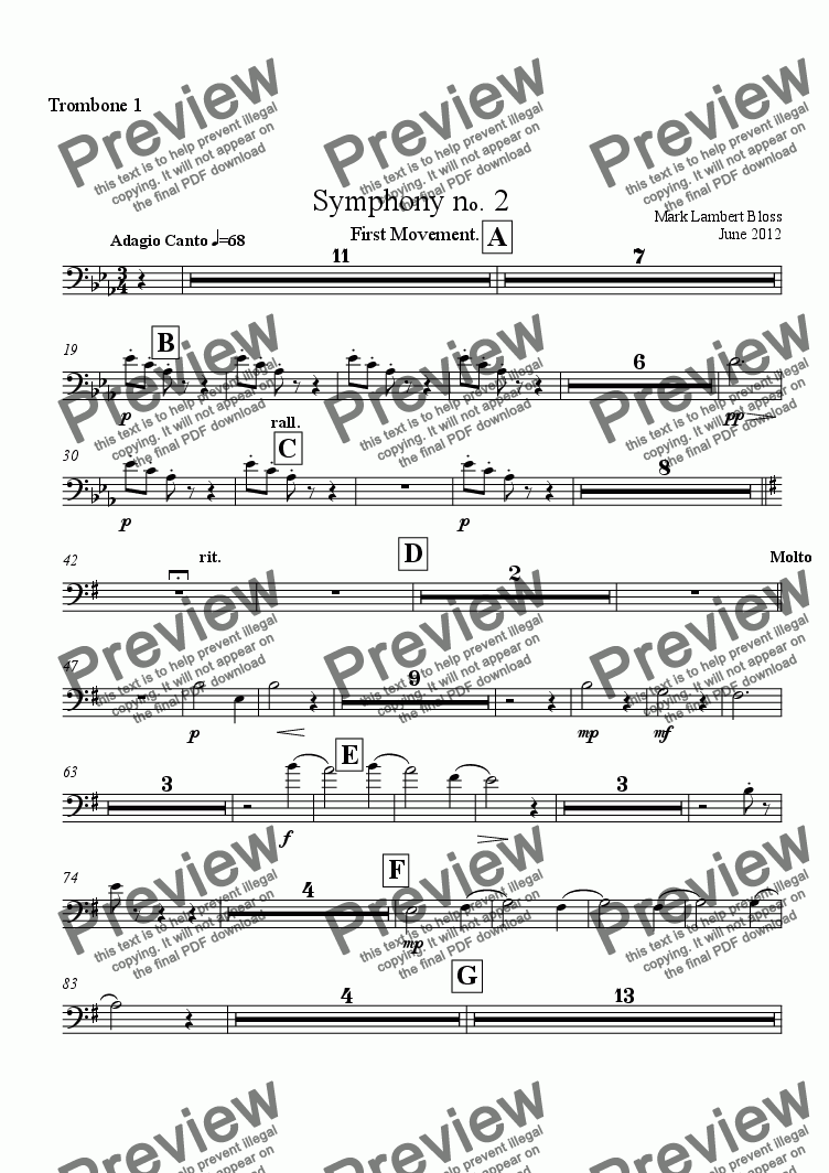 page one of the Trombone 1 part from 2. Symphony First Movement