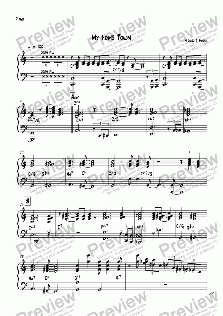 page one of the Piano part from My Home Town
