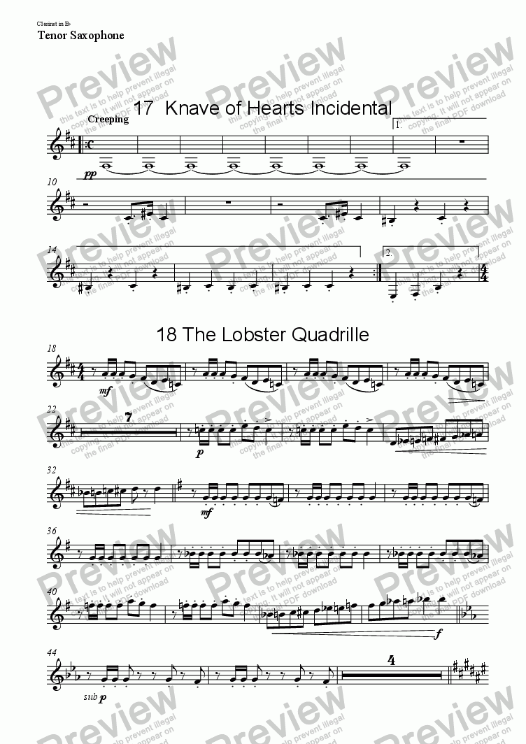 page one of the Clarinet in B^b, Tenor Saxophone part from Alice - musical for schools ACT 2