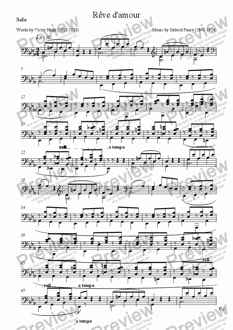page one of the Solo part from S'il est un charmant gazon (Fauré - Victor Hugo)
