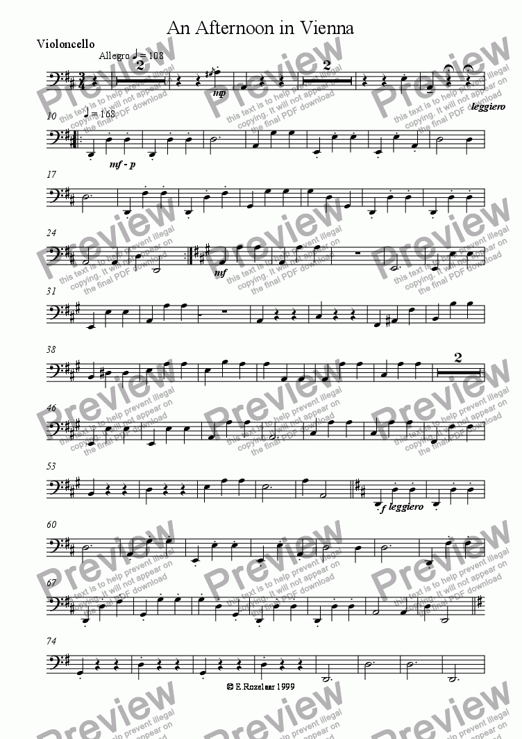 page one of the Cello part from An Afternoon in Vienna for String Quartet
