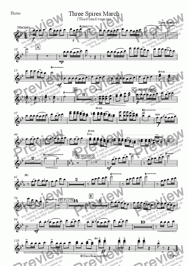 page one of the Flutes part from Three Spires March (Wind Band)
