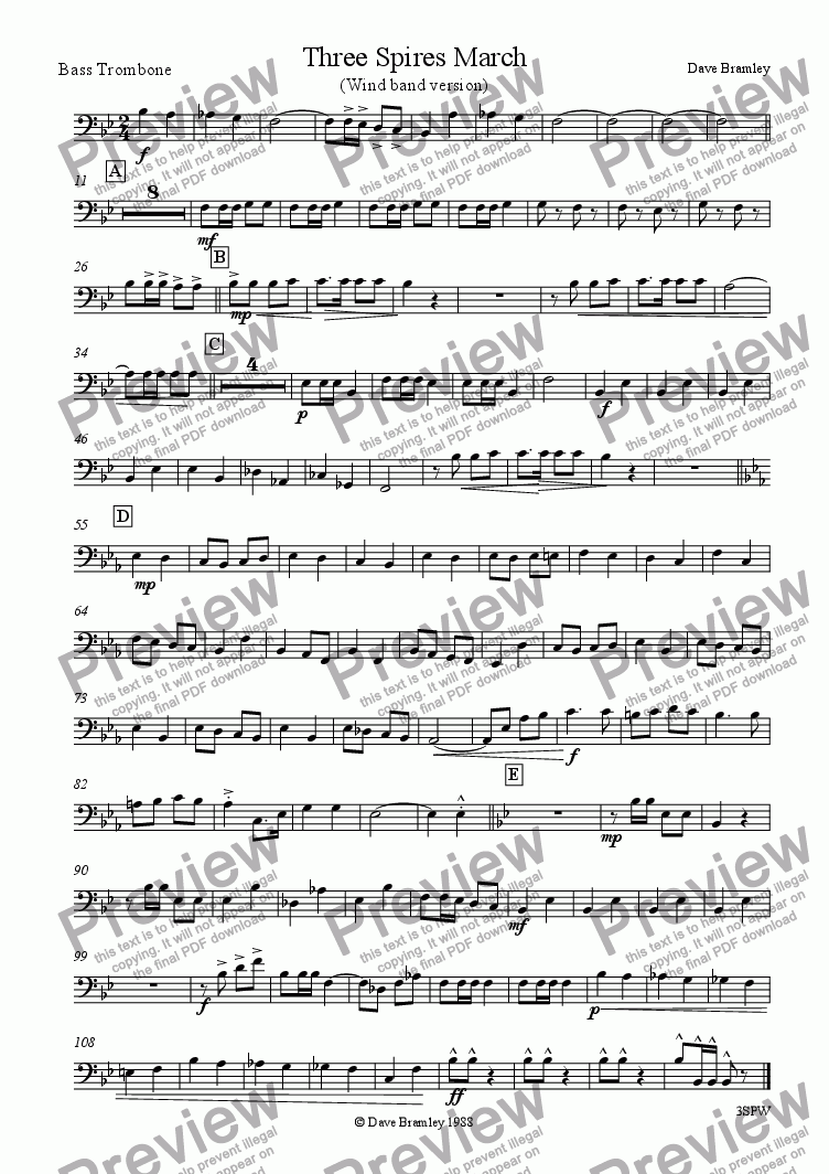 page one of the Bass Trombone part from Three Spires March (Wind Band)