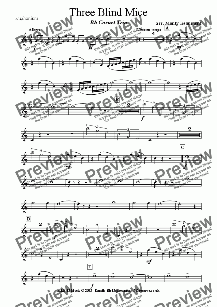 page one of the Euph part from Three Blind Mice (Brass Band)