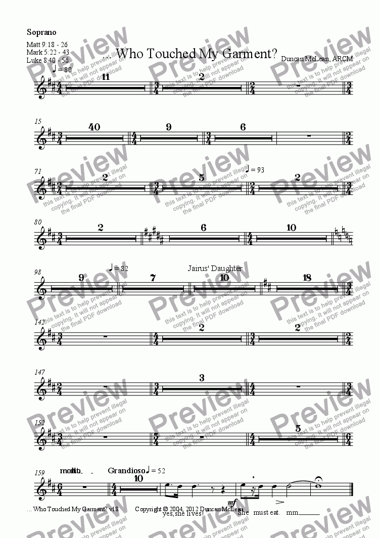 page one of the Soprano part from Who Touched My Garment? [print up to 30]