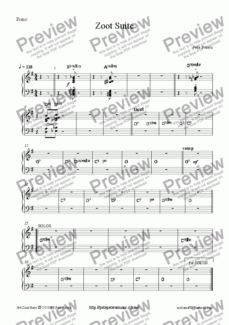 page one of the Piano part from Zoot Suite [16 piece Big Band version] Bass feature