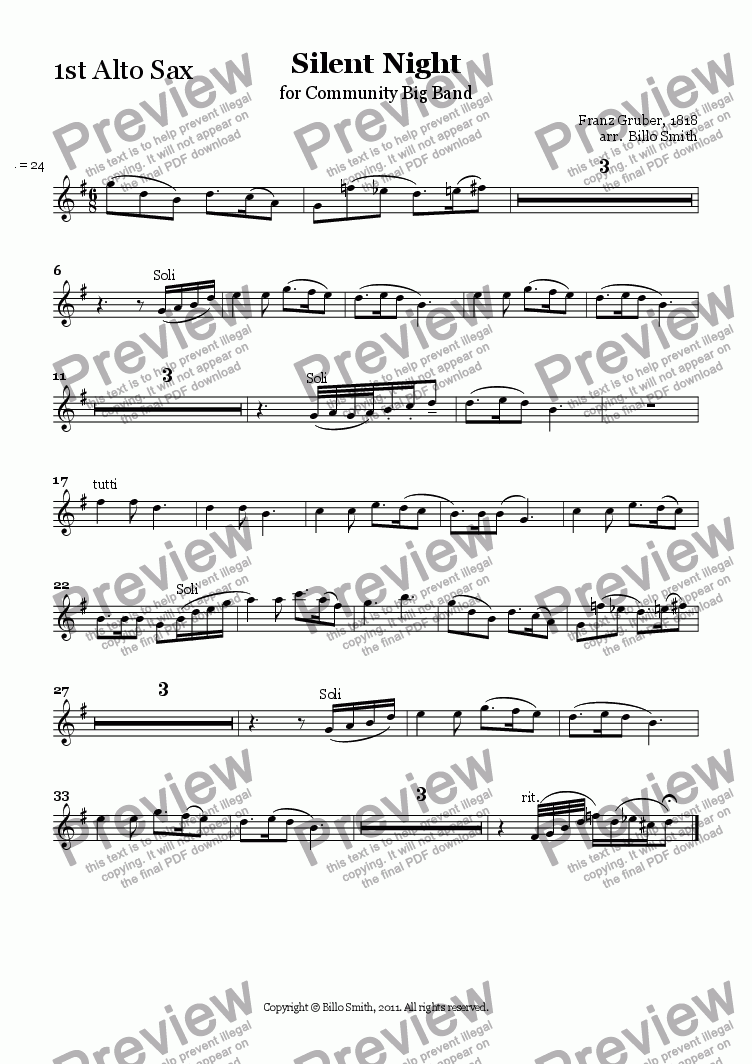 page one of the 1st Alto Sax part from Silent Night